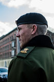 The Danish royal guard. Through the city of copenhagen to make the change of guard at the royal palace Stock Images