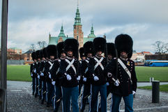 The Danish royal guard. Through the city of copenhagen to make the change of guard at the royal palace Stock Image