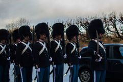 The Danish royal guard. Through the city of copenhagen to make the change of guard at the royal palace Stock Photo