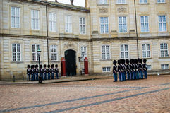 The Danish royal guard. Through the city of copenhagen to make the change of guard at the royal palace Stock Photography