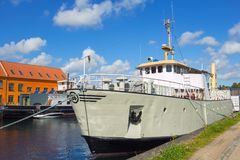 Danish ship docked near museum Royalty Free Stock Photography