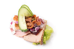 Danish specialties and national dishes, high-quality open sandwich. The very famous piece of butterbread called Veterinarian`s midnight snack consisting of Stock Image