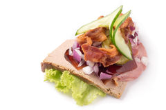Danish specialties and national dishes, high-quality open sandwich. The very famous piece of butterbread called Veterinarian`s midnight snack consisting of Royalty Free Stock Images