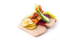 Danish specialties and national dishes, high-quality open sandwich. Liver Pate with bacon pickled cucumber, beetroot and cucumber isolated on white background Royalty Free Stock Photos