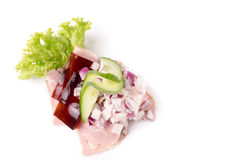 Danish specialties and national dishes, high-quality open sandwich Royalty Free Stock Images