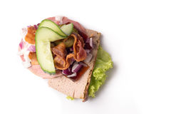Danish specialties and national dishes, high-quality open sandwich. The very famous piece of butterbread called Veterinarian`s midnight snack consisting of Royalty Free Stock Photo