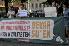 Danish students staged protest again Tax reforms Royalty Free Stock Photos