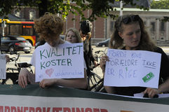 Danish students staged protest again Tax reforms Stock Photo