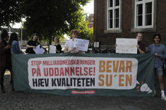 Danish students staged protest again Tax reforms Royalty Free Stock Image