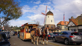 The Danish Styled Town of Solvang in California. Solvang is town in southern California that is designed as a Danish community complete with windmills and horse Royalty Free Stock Images