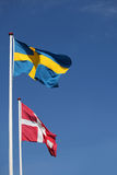 Danish and swedish flag together Royalty Free Stock Photography