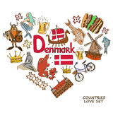 Danish symbols in heart shape concept Stock Photos