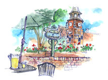 Danish town in Solvang, USA illustration Stock Photo