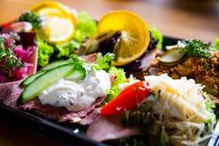 Danish traditional breakfast deluxe closeup stock image