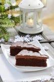 Danish traditional christmas. Chocolate cake Royalty Free Stock Photos