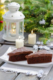 Danish traditional christmas. Chocolate cake stock images