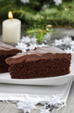 Danish traditional christmas. Chocolate cake royalty free stock images