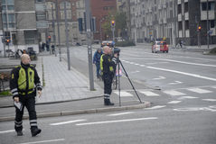 DANISH TRAFIC POLICE IN ACTION royalty free stock photography