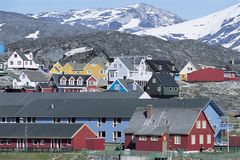 Danish village below Mountain Range Royalty Free Stock Images