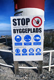 Danish warning sign loseup Stock Images