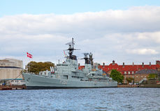 Danish warship. In the Copenhagen harbour stock images