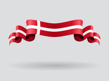 Danish wavy flag. Vector illustration. Royalty Free Stock Images