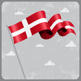 Danish wavy flag. Vector illustration. Stock Photos