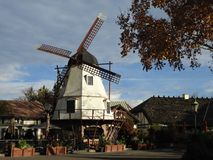 Danish Windmill in Solvang Village in California. Dutch style windmill in santa ynez county in southern california denmark settlement town solvang. Quaint cozy Stock Images