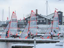 Danish Winter Sailing with 29ers stock images
