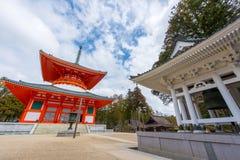 Danjo Garan寺庙的Konpon Daito塔在Koyasan地区在Wak 免版税库存照片