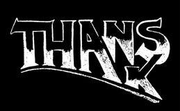 Dank die van wit krijt op zwarte achtergrond van letters voorzien Dank met de hand geschreven woord op bord stock illustratie