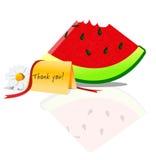 Dank die watermeloen geven Stock Foto's
