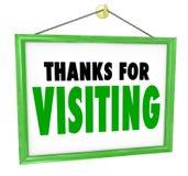 Dank für hängende Speicher-Zeichen-Kunden-Besuchsanerkennung Stockbilder