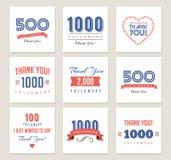 Dank u aanhangers, kentekens, stickers en etiketten vector illustratie