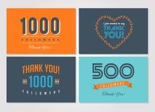 Dank u aanhangers, kentekens, stickers en etiketten stock illustratie
