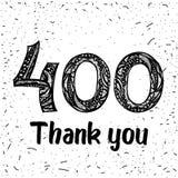 Dank u 400 aanhangersaantallen Het gelukwensen van zwart-witte dank, beeld voor netto vrienden in twee 2 kleuren, stock illustratie