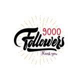 Dank u 9000 aanhangersaffiche U kunt sociaal voorzien van een netwerk gebruiken De Webgebruiker viert een groot aantal abonnees o vector illustratie