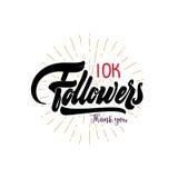 Dank u 10000 aanhangersaffiche U kunt sociaal voorzien van een netwerk gebruiken De Webgebruiker viert een groot aantal abonnees  Stock Afbeelding