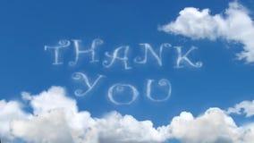 Dank u - betrek woorden op blauwe hemel royalty-vrije illustratie