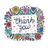 Dank u Bloemenkaderillustratie Stock Foto's