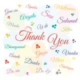 Dank u dag, vakantie, in vele talen Vector illustratie royalty-vrije illustratie