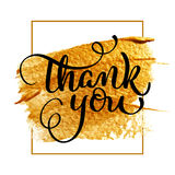 Dank u dagtekst op acryl gouden achtergrond Hand getrokken Kalligrafie die Vectorillustratie EPS10 van letters voorzien vector illustratie