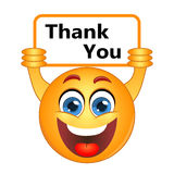 Dank u dankt het uitdrukken van dankbaarheidsnota over een teken Stock Fotografie