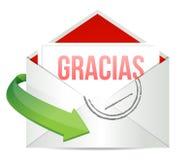 Dank u de envelop van de dankbaarheidskaart in het Spaans Stock Foto