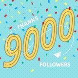 Dank u de prentbriefkaar van 9000 aanhangersaantallen vector illustratie