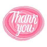 Dank u die van letters voorzien Vectorillustratie van roze steen met kalligrafieinschrijving Royalty-vrije Stock Fotografie