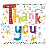 Dank u groetkaart Dank u overhandigen het van letters voorzien en de achtergrond van krabbelselementen Vectorillustratie van woor Royalty-vrije Stock Afbeeldingen