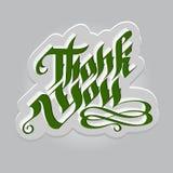 Dank u het gotische groene van letters voorzien op grijze banner Stock Foto's