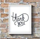 Dank u het hand-drawn van letters voorzien op bakstenen muur Royalty-vrije Stock Foto