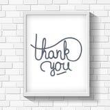 Dank u het hand-drawn van letters voorzien op bakstenen muur Royalty-vrije Stock Foto's